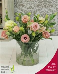 flowers: Pink Mix Lisianthus in Cylinder Shape Vase!