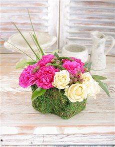 flowers: Peonies and Roses in a Moss Basket!
