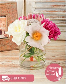 flowers: Vase of Mixed Peonies and King Protea!