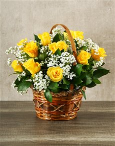 gifts: Woven Basket of Yellow Roses!