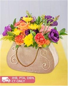 flowers: Chic Mixed Flowers in Ceramic Handbag!