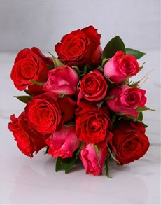 flowers: Red and Cerise Rose Bouquet!