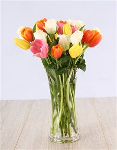 flowers: Mixed Tulips and White Roses in a Glass Vase!