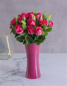flowers: Pink Roses and Lilies in a Pink Vase!
