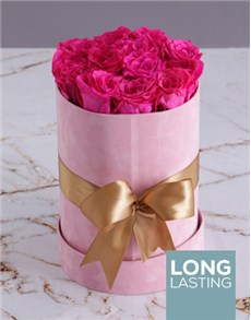 flowers: Preserved Cerise Roses in a Tall Pink Suede Box!