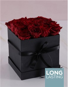 flowers: Red Preserved Roses in a Black Box!