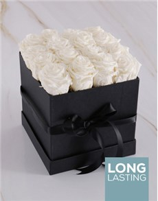 gifts: White Preserved Roses in a Black Box!