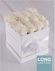 flowers: Pure White Preserved Roses in a Box!