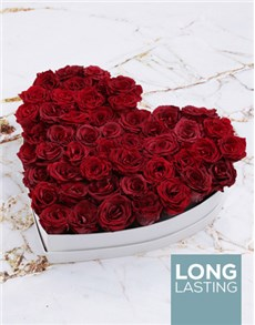 gifts: White Heart of Red Preserved Roses!