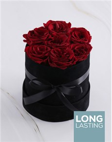 flowers: Red Preserved Roses in a Small Round Box!
