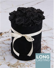 flowers: Large Black Suede Box with Black Preserved Roses!