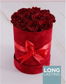 flowers: Red Preserved Roses in a Red Suede Box!