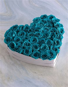 gifts: White Heart Of Turquoise Preserved Roses!