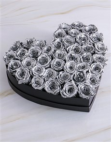 flowers: Black Heart Of Silver Preserved Roses!