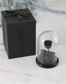 flowers: Black Preserved Rose In Glass Dome!