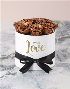 flowers: Preserved Golden Roses In White Box!