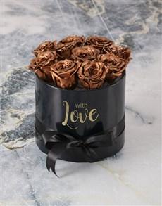 flowers: Preserved Golden Roses In Black Box!