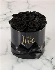flowers: Preserved Black Roses In Black Box!