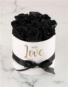 flowers: Preserved Black Roses In White Box!