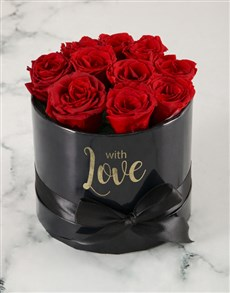 flowers: Preserved Red Roses In Black Box!