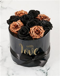 flowers: Magical Black and Gold Preserved Roses!