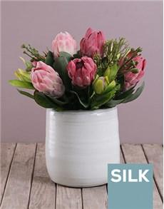 flowers: Silk Queen Proteas in White Ceramic!