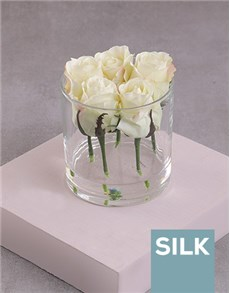 gifts: Cream Silk Rose Stems in a Clear Vase!