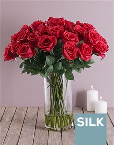flowers: Red Silk Rose Stems in a Tall Clear Vase!