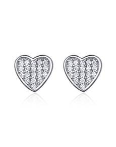 gifts: Silver Gem Heart Pave Studs!