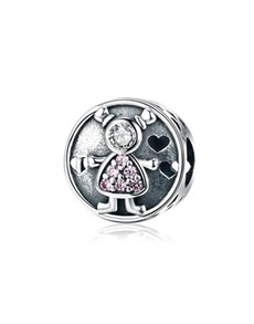 gifts: Girl Heart Round Charm!