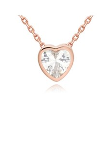 gifts: Rose CZ Heart Tube Necklace!