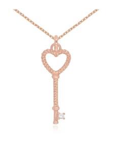 gifts: Rose CZ Heart Key Pave Necklace!