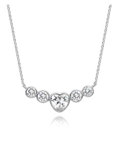 gifts: Sliver CZ Heart and Rounds Tube Necklace!