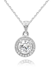 gifts: Silver CZ Halo Pave Necklace!