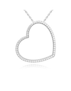 gifts: Silver CZ Open Heart Pave Necklace!