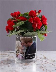 plants: Personalised Begonia Anniversary Photo Vase!