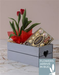 gifts: Red Tulips And Ferrero Rocher Crate!