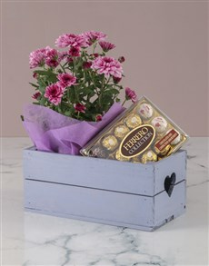 flowers: Chrysanthemum and Chocolates in Heart Crate!