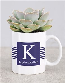 gifts: Personalised Name And Surname Mug Succulent!