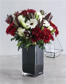 gifts: Red and White Flowers in Black Vase!