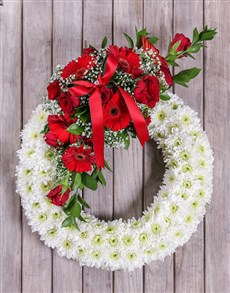 flowers: White and Red Sympathy Wreath!