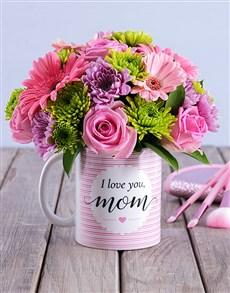 flowers: I Love You Mom Floral Arrangement Mug!