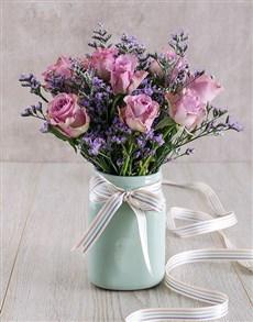flowers: Lilac Roses in Mint Ceramic Vase!