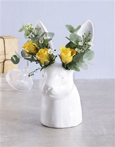 flowers: Yellow and Green Flowers in Bunny Vase!