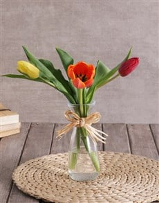 flowers: Mixed Tulip Trio in Clear Vase!