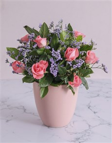 flowers: Pink Sapphire Roses in a Pot!