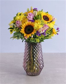 flowers: Assorted Classic Flowers In Purple Vase!