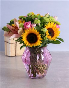 flowers: Mixed Sunflowers in Small Geo Vase!