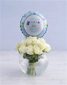 flowers: White Roses and Baby Boy Balloon!