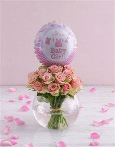 gifts: Pink Roses and Baby Girl Balloon!